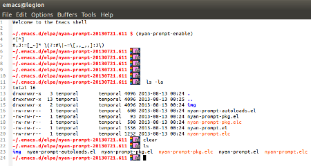 Nyan Cat w prompt'cie eshell'a.